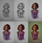 Step-by-Step of Rapunzel Sketch by nataliebeth