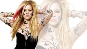 Avril lavigne Wallpaper 4 (Tattoos) by IsaacArtHampshire