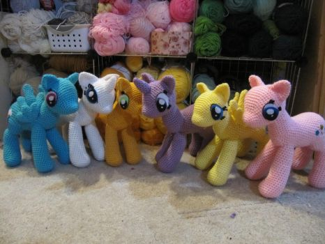 Mane 6 WIP by NerdyKnitterDesigns