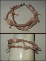 Leather bracelet: Barbed wire design. by YoBorg