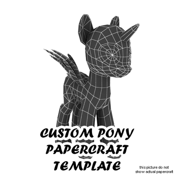 Pony papercraft blank template by darth-biomech