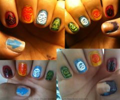 Fire, Air, Water, Earth, Nails by theworldofmycreation