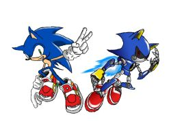 Sonic and Metal Sonic coloured by BladezofN0via