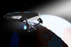 Enterprise leaves orbit earth by CaptainBarringer