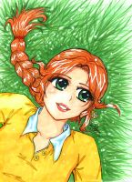 greenhouse girl 3:in the grass by BeckyPennArt