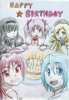 Madoka Birthday Card by samanthacannon