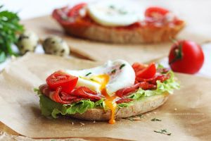 Sandwich with bacon and poached egg by LilyBrilliant