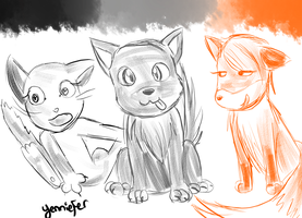 Kickstarter Commission: Cat, Wolf and Fox by FaithWalkers