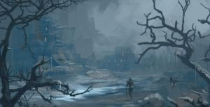Snow forest ruins by crazypalette