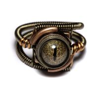 Steampunk Ring golden eye by CatherinetteRings