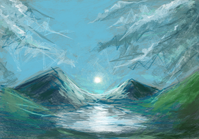 Mountains speedpaint by valravnclaw
