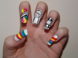 I Like Trains Nail Art by DarkShadowChibi