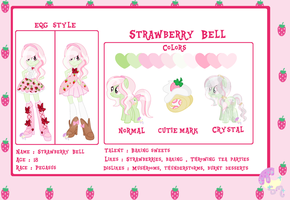 NEW OC Strawberry Bell official debut + reff by SugarMoonPonyArtist