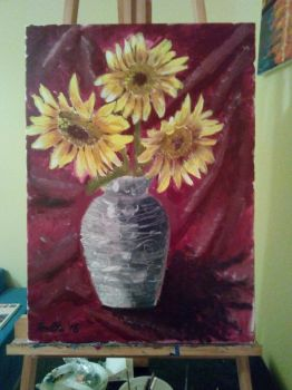 sunflower painting by roxana21