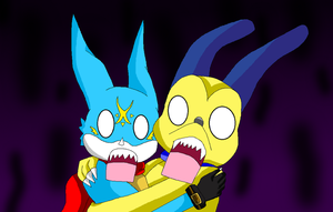 DxVeemon and DxDoggymon shocked by HeroHeart001