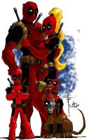 Deadpool Family portrait collb by ChrisOzFulton