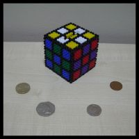 Beaded rubiks money box by Synfull