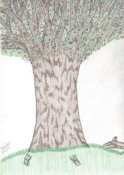 Colored Pencil Only Tree by QueenieNirvana