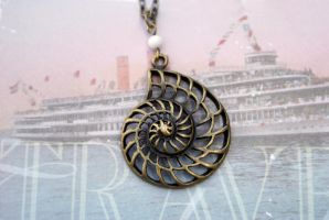 Nautical Nautilus Necklace by MonsterBrandCrafts