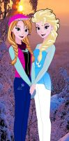 Disney Princesses 21st Century:Anna and Elsa by TheMexicanMaster96