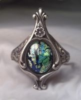 Ring with Glass Opal Stone by SteamDesigns