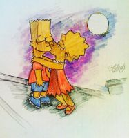 Lisa kisses Bart on the roof by AlBrolz