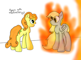 Derpy and Carrot Top - Fire by Zilford-the-legend