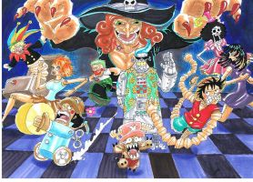 Mugiwara pirates changed into a dolls by heivais