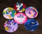 MLP Buttons:  Royal Ponies by AleximusPrime