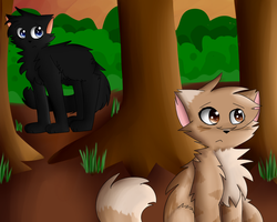 Leafpool and Crowfeather by Postal-Owl
