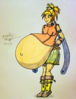 Art Request: Very Pregnant Rikku by JAM4077