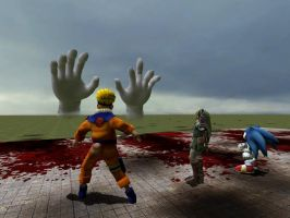 Naruto, Link y Sonic VS hands by soyersoldier