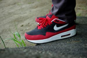 shoes. nike air max 1 blk red by stillxcold