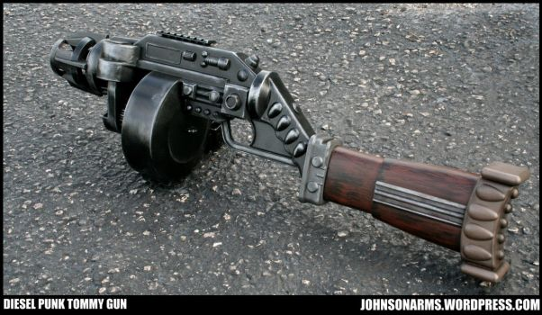 Mobster Dieselpunk Tommy Gun Prop by JohnsonArmsProps