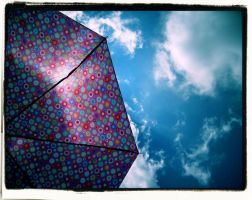 Blue Sky and Pink Umbrella by JupiterLily