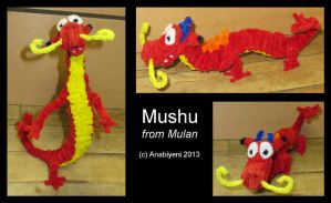 Pipe Cleaner Mushu from Mulan by Anabiyeni
