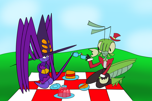 Spider Witch and Mantis Witch haveing a bug picnic by WonderfulWiz