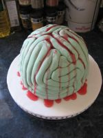 Rotten Zombie brain cake by assassin-kitty
