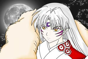 Sesshoumaru Close Up Colored by DarkAngelOfSilence