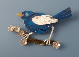 fairy wren brooch -circuit by thebluekraken
