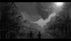 Black Dragon spotting two humans. by CragTheRock