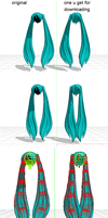 MMD better physics miku hair by cheese2982003