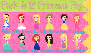 Pack de 12 Princesas Png by Pau-Payasita