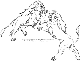 Lion's fighting LineArt by DragonHeartLuver