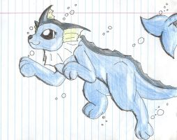Vaporeon Swimming by PieMan24601