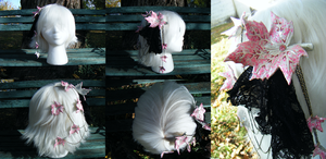 Rebel in Pink Fantasy Leather Leaf Head Piece by Arexandria