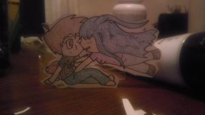 Gwen and Bman paper child by DraconicWorlds