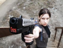 Lara Croft and her gun by TanyaCroft