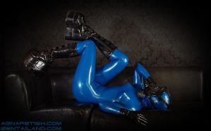 Latex Zentai with GasMask by AgnaDevi