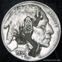 Hand Engraved Face Frog Hobo Nickel by shaun750